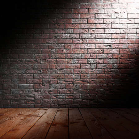 concrete texture: Room interior with brick wall and wooden floor Stock Photo