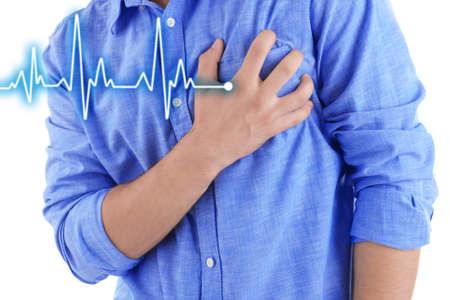 Mann, der Schmerzen in der Brust - Herzinfarkt.