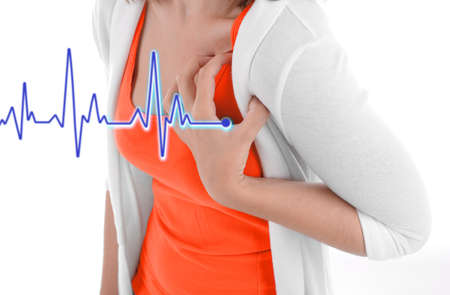 chest women: Woman having chest pain - heart attack. Stock Photo