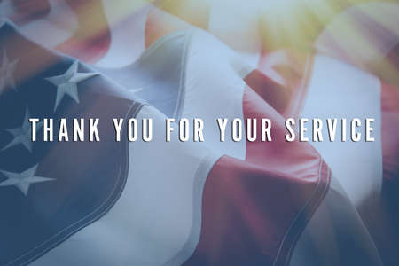 Text Thank You For Your Service on American flag background