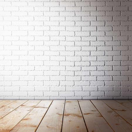 Interni in camera con muro di mattoni e pavimento in legno Archivio Fotografico - 52650077