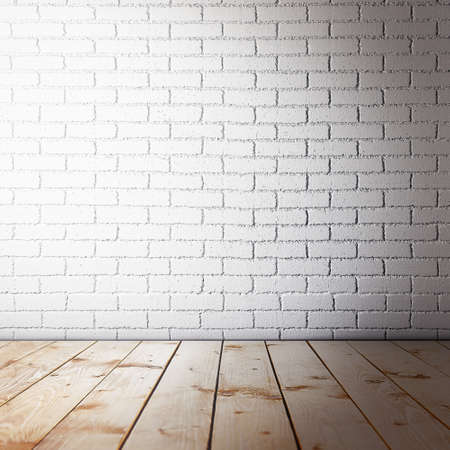ancient brick wall: Room interior with brick wall and wooden floor Stock Photo