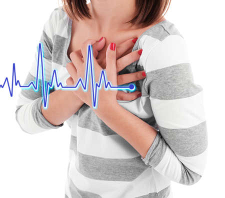 young at heart: Woman having chest pain - heart attack. Stock Photo