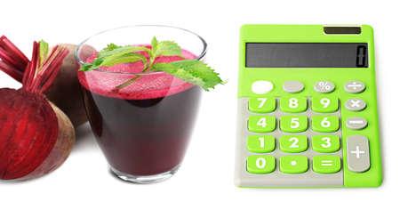 beet juice: Calculator and fresh beet juice isolated on white Stock Photo