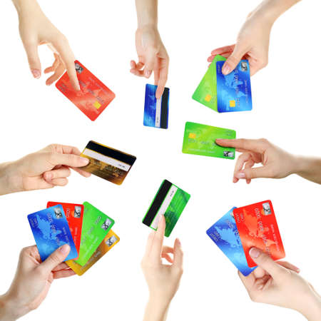 cash slips: Collage of hands holding credit cards, isolated on white