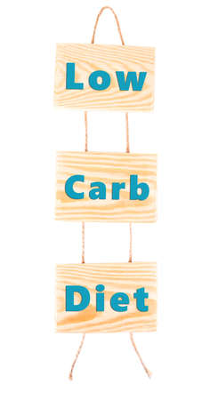 low carb diet: Wooden boards with text Low Carb Diet isolated on white
