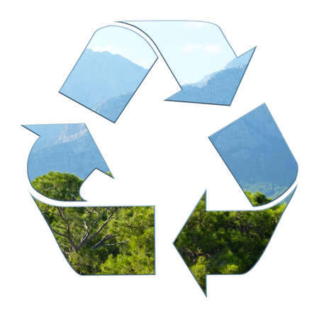 resourse: Three recycling arrows isolated on white, recycle concept