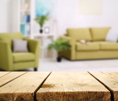 Old wooden board on living room background