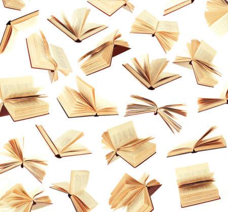 흰색에 고립 된 배경으로 많은 비행 책 스톡 콘텐츠