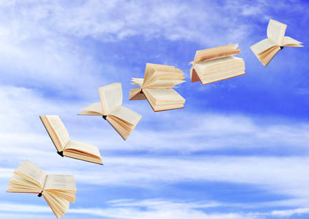 tiny: Flying books on cloudy sky background