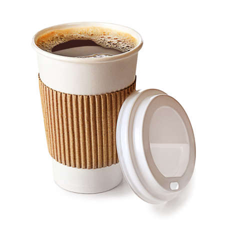 away: Paper cup of coffee isolated on white Stock Photo