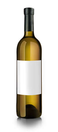 semisweet: Bottle of white wine with empty label, isolated on white Stock Photo