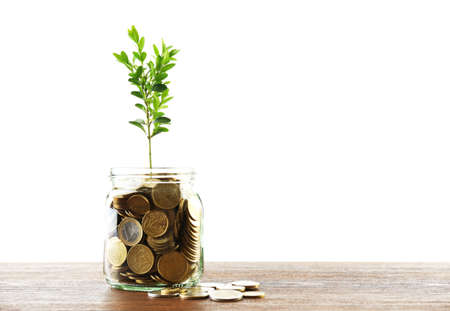 plant growing: Money with growing sprout in glass jar on table isolated on white