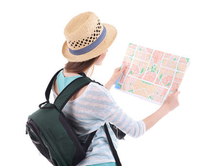 guid: Traveler with map isolated on white
