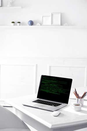 programer: Programming code on laptop monitor