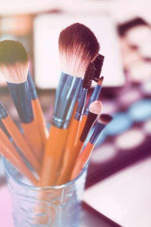 make up brushes: Make up brushes set on bright background