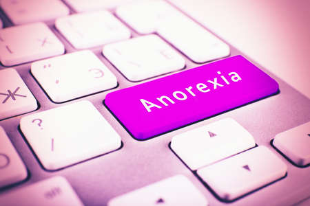 anorexia: Close up of ANOREXIA keyboard button