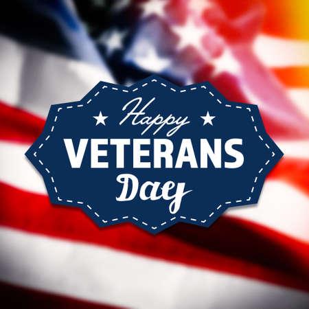 Glücklicher Veteranen-Tag-Zeichen auf USA Flagge Hintergrund Standard-Bild