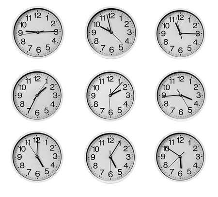 Collage of round wall clocks, isolated on white