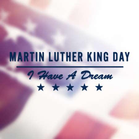 Martin Luther King Day text na USA vlajka pozadí Reklamní fotografie