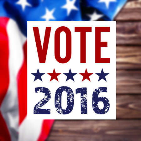 Vote 2016 sign on USA flag background