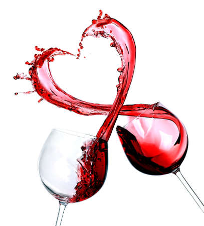 Two glasses of red wine. Heart Splash