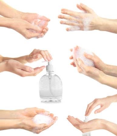 lavamanos: Collage con los jóvenes lavarse las manos hermosas, aislado en blanco Foto de archivo