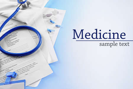 medical supplies: Medical supplies on blue background
