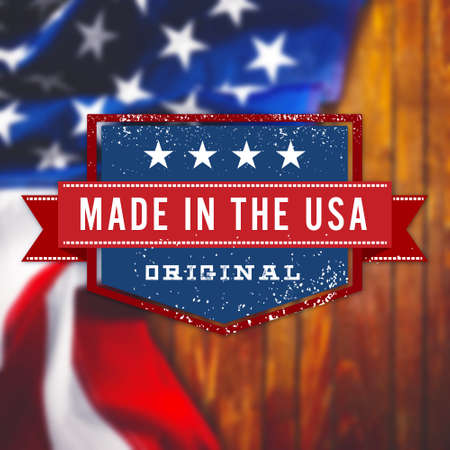 made: Made in the USA sign on USA flag background Stock Photo