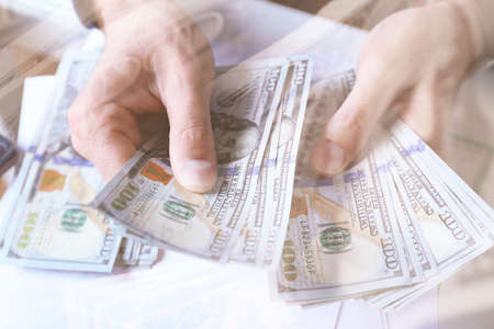 counting money: Finance concept. Hands counting money, close up
