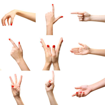 red skinned: Set of female hands gestures, isolated on white