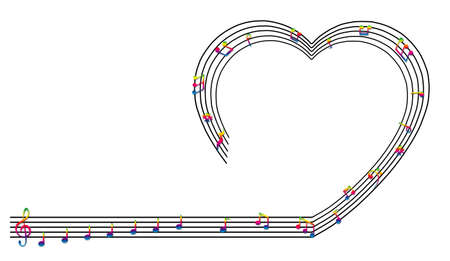 valentine musical note: Heart collected from musical notes isolated on white