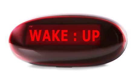 alarm clock: Digital clock showing Wake up oclock isolated on white