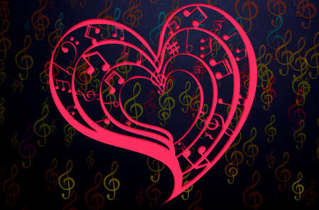 Heart collected from musical notes on dark background