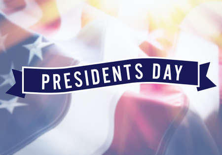 Presidents Day sign on USA flag background Stock Photo