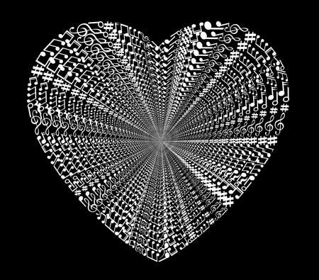 valentine musical note: Heart collected from musical notes isolated on black Stock Photo