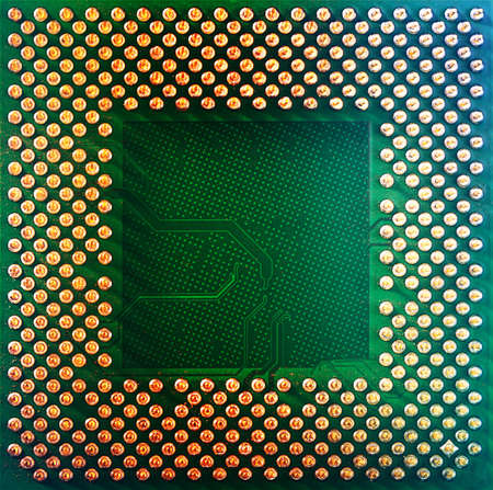 Electronic circuit board with processor, close up Stock Photo