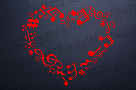 valentine musical note: Heart collected from musical notes on dark background