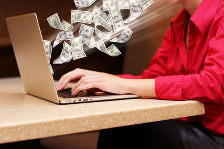 woman laptop: Financial concept. Make money on the Internet. Woman with laptop in cafe shop