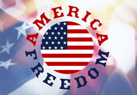 anthem: America Freedom sign on USA flag background with sunlight