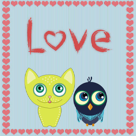 cat s: Cute cartoon animals couple fall in love, vector illustration. Stock Photo
