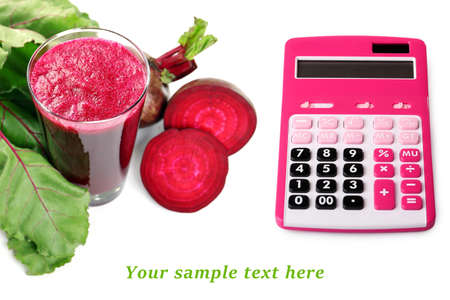 beet juice: Calculator and fresh beet juice isolated on white with space for your text