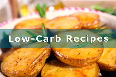 carb: Homemade fried potato on plate and text Low Carb Recipes close up Stock Photo