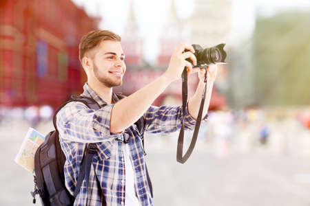 Traveler with camera  outside