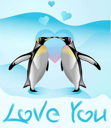 l boy: Cute cartoon animals couple fall in love, vector illustration. Stock Photo
