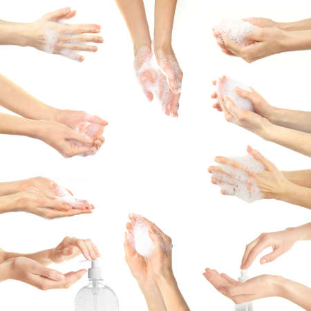sudsy: Collage with young beautiful washing hands, isolated on white Stock Photo