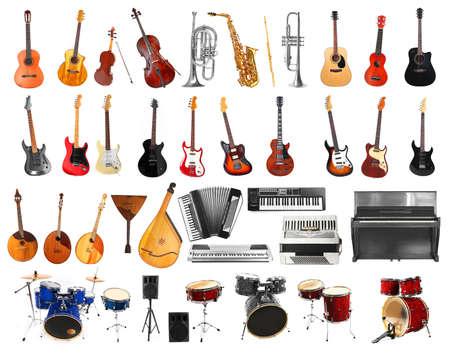 Collage von Musikinstrumenten auf weißem