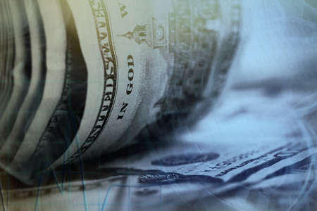 pay bill: Finance concept. Twisted dollar banknotes, close up