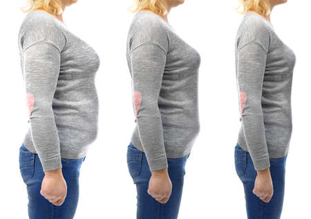 Three stages of slimming womans body