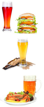 types of glasses: Different types of beer in glasses and snacks, isolated on white